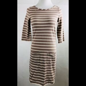Boden Tan Striped 3/4 Sleeve Bodycon Mini Dress